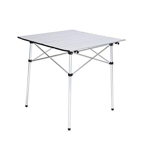 Jkykpp Mesa plegable portátil de camping al aire libre, mesa plegable de aluminio ligera con cinturón de transporte, se puede utilizar para exteriores, playa, pesca, viajes, blanco