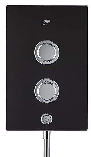 Mira Decor Dual Plastic Manual Dial Control Black Onyx Electric Shower (Dep: 97.4mm H: 332mm W: 220mm, 4.3kg ), 10.8kW
