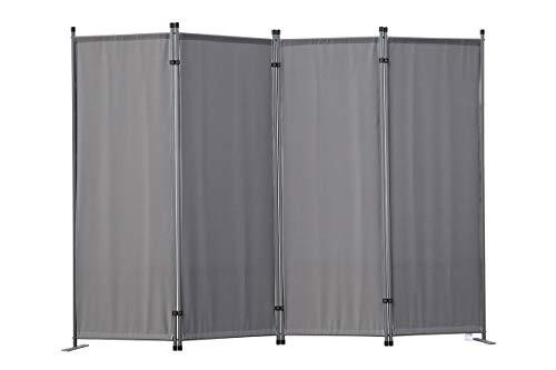 Angel Living Biombo Separador de 4 Paneles, Decoración Elegante, Separador de Ambientes Plegable, Divisor de Habitaciones, 225X165 cm (Gris)