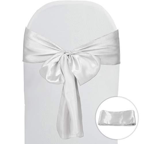 VEVOR Bandas Satines para Sillas 100 Piezas Bandas Satines de Elastano para Sillas 32-42cm Lazos de Spandex para Sillas con Lazos para Sillas Bodas para Decoración de Bodas Color Blanco