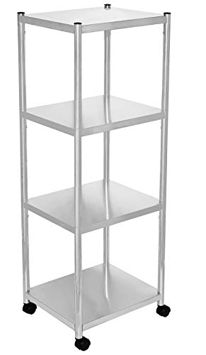 jepreco 4Tier Stainless Steel Shelving Unit with Wheels 157quot L x 138quot W x 435quot H for Narrow Places Adjustable Utility Shelf Cart for Kitchen Office Home MultiPurpose Organizer Rack