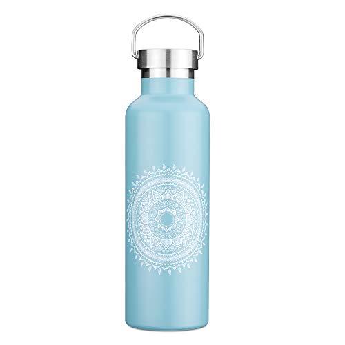Navaris Botella de Acero Inoxidable - Cantimplora de Agua sin BPA de 750 ML- Bebida Caliente y fría - para Deporte montaña Gimnasio y Oficina - Azul