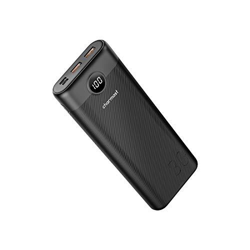 Charmast Batterie Externe 30000mAh Power Bank USB C 20W Charge Rapide en QC 3.0 Power Delivery 3 Sorties et 2 Entrées Ecran LED Compatible avec Téléphone