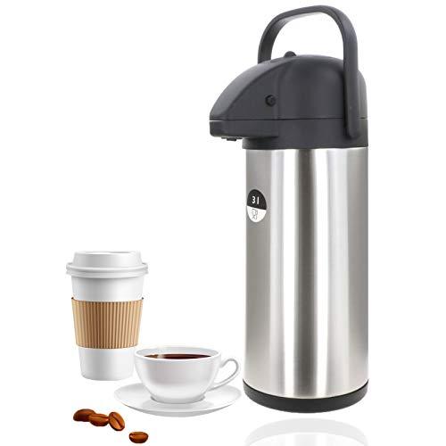 Smartweb Große Thermoskanne Pumpkanne 3 Liter XL Kaffeespender Edelstahl Doppelwandig Isolierkanne Airpot Kaffee Iso Kanne IDEAL für warme und kalte Getränke