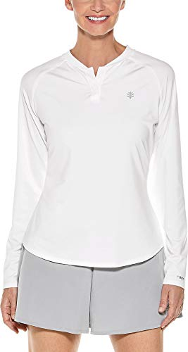 Coolibar UPF 50+ Women's Long Sleeve Match Point Henley - Sun Protective (XX-Large- White)