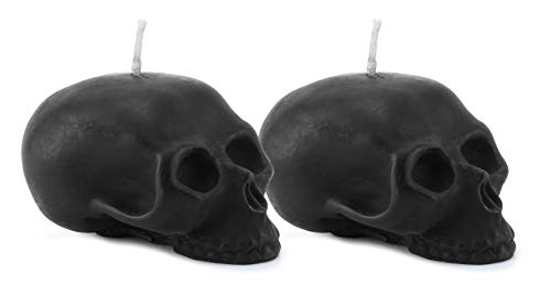 Darware Large Skull Shaped Candles (2-Pack, Black); 4.75 x 3-Inch Decorative Themed Candles for Halloween, Horror and Novelty Decor