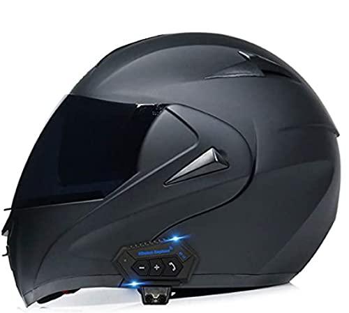 GJPSXTY Casco modular Bluetooth para moto, casco integral con doble visera, scooter, unisex y hombre, homologado ECE, color negro, S B