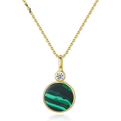 qwertyuio Collar con Colgante Esmeralda para Mujer Chapado En Oro De 18 Quilates Plata De Ley 925 Malaquita Collar con Colgante De Piedras Preciosas
