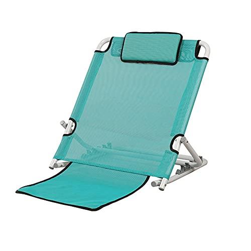 HYYYH Soporte para la Espalda de la Cama Cama para Ancianos Respaldo Multifuncional Malla Transpirable Sin apoyabrazos, Puede soportar 120 kg (Color : Green-A, Size : 67 * 57 * 43cm)