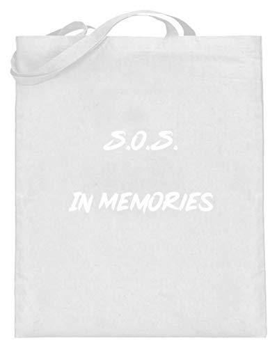 SPIRITSHIRTSHOP SOS In Memories Fan Design Lied Song pour homme et femme Pour toute occasion – Sac en jute (avec anse longue) - Blanc - Blanc, 38cm-42cm