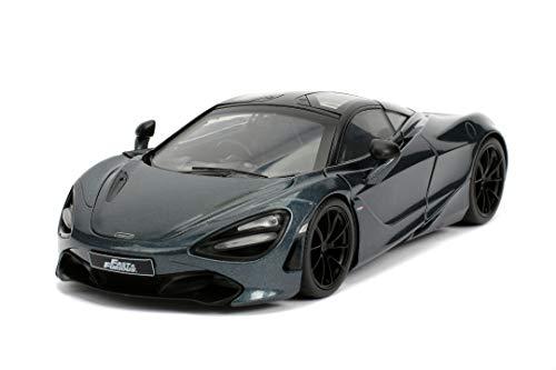 Jada Toys 253203036 Fast & Furious Shaw\'s McLaren 720S, Auto, Tuning-Modell im Maßstab 1:24, mit Spoiler, zu öffnende Flügeltüren, Motorhaube und Kofferraum, Freilauf, grau