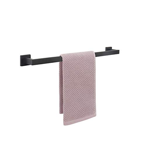 NearMoon Bathroom Towel Bar, Bath Accessories Premium Thicken Stainless Steel Square Shower Towel Rack for Bathroom, Towel Holder Wall Mounted (Matte Black, 16 Inch)