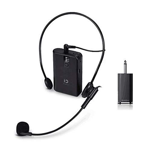 Système de microfoon met UHF herbruikbare SHIDU en microphones cravate cravate, émetteur ceinture, parfait pour le karaoké, enregistrement, interviews, conférence, présentation sur scène (U2)