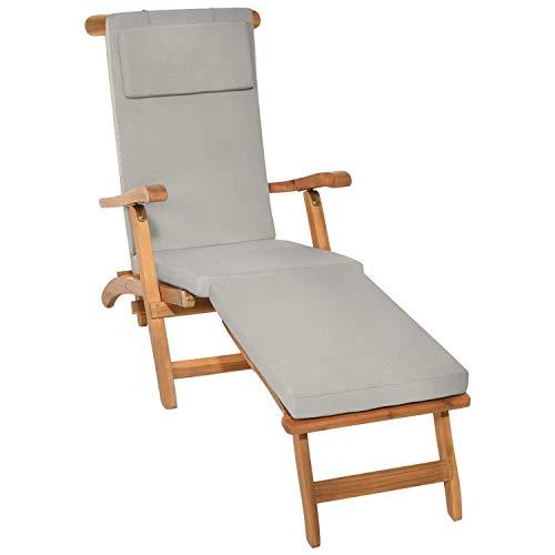 Beautissu Auflage für Deckchair LoftLux DC 175x45x5cm Luxus Polster-Auflage Liege-Stuhl - Bezug Abnehmbar Hell-Grau erhältlich