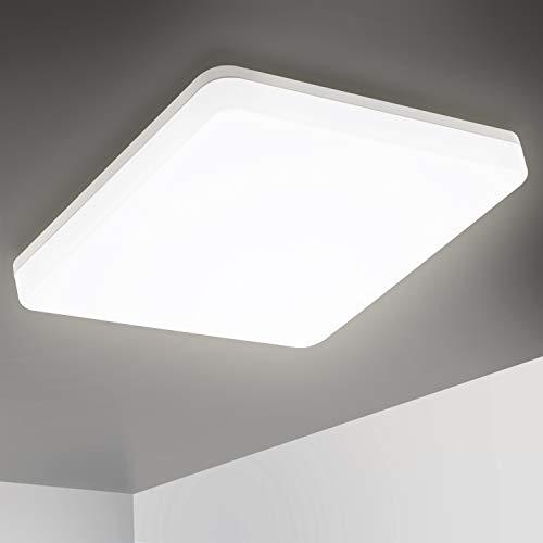Oeegoo LED Lámpara de techo para baño, 15W 1500LM Lámpara de techo sin parpadeo, IP44 Impermeable LED Plafón para sala de estar, dormitorio, cocina, habitación infantil, balcón, oficina 4000K