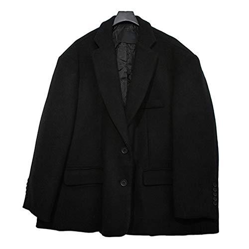Xiaojie damesmantel van katoen casual art en mode vrouwen los plus temperament normale lak enkele rij korte wol blazer