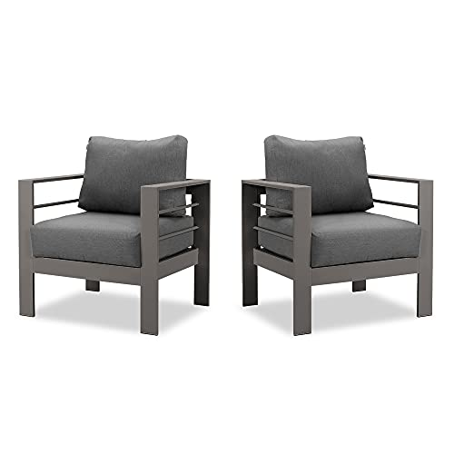 Wisteria Lane 2 Pieces Patio Furniture Aluminum Armchair, All-Weather Outdoor Single Sofa, Grey Metal Chair with Dark Grey Cushions