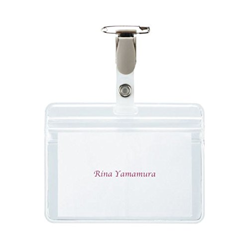 (まとめ) TANOSEE タッグ名札 チャック付 安全ピン・クリップ両用型 1パック(10個) 〔×5セット〕