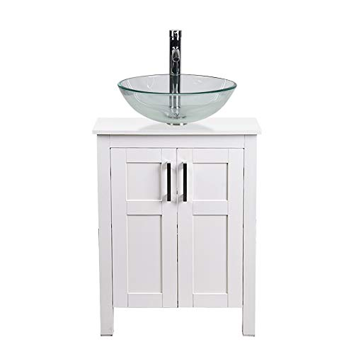24 Inch Bathroom Vanity and Sink Combo White Modern MDF Board Countertop -