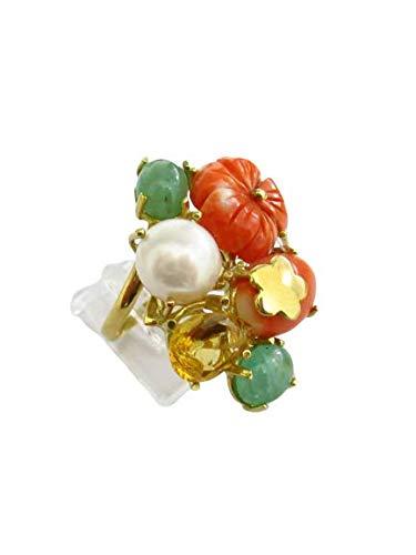 Gioielleria Damiata - Anello donna in oro giallo 18 carati con corallo, giada, perla e topazio