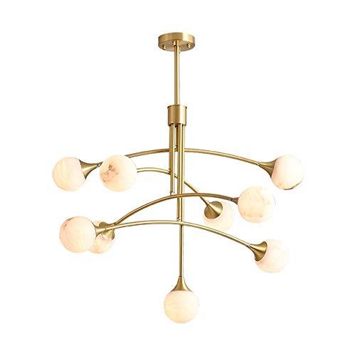 WEM Candelabro, 9 luces Lámpara colgante de latón Lámpara de techo de vidrio de mármol/Accesorio de lámpara Araña de rama de globo nórdico G4 Colgante Dormitorio Pasillo Iluminación de comedor Deco