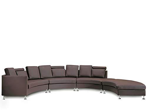 Beliani Modern Curved Sectional Sofa with Ottoman and Headrests Brown Leather Rotunde