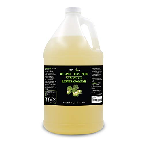 GreenIVe - 100% Pure Castor Oil - Cold Pressed - Hexane Free - Exclusively on Amazon (128 Ounce (1 Gallon))