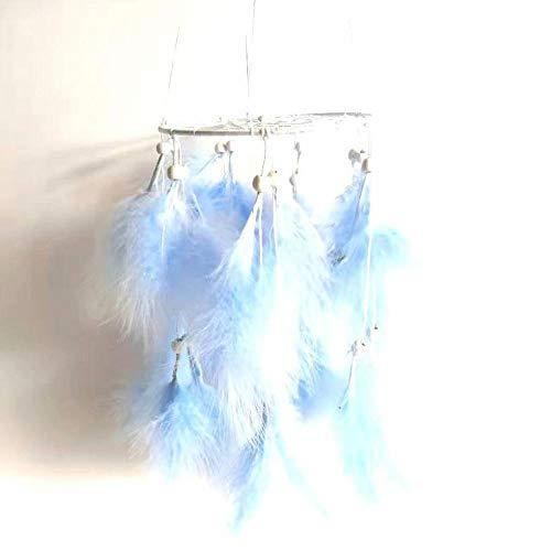 CYGJ Linterna Aros Atrapasueños Azul Atrapasueños Colores LED Hecho a Mano Atrapa Sueno Grande para Chicas,15x55cm