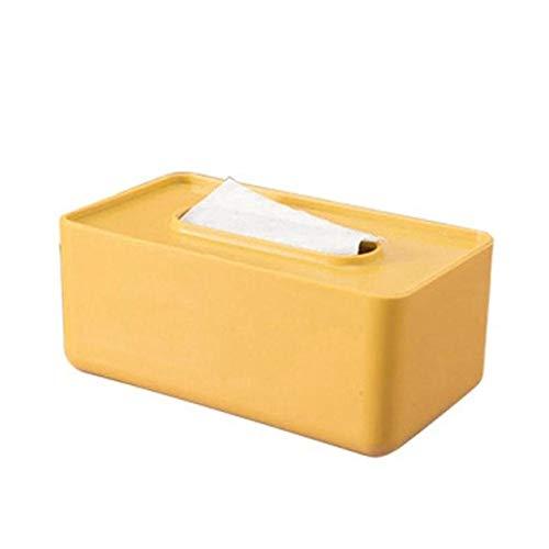 PSSYXT Caja de pañuelos Caja de pañuelos de plástico Multifuncional Organizador de Toallas de Papel Soporte de Caja de pañuelos Decoración de Mesa para el hogar, B Amarillo