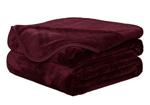 Value Comfort Home Large Luxury Faux Fur Throw Sofa Bed Mink Soft Warm Blanket - Double & King Size 200x240 Burgundy