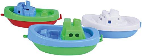 Lena 65470 - Wasserspaß Boote, 3er Set, Badeboote aus Kunststoff, Wasserspielzeugset für Kleinkinder ab 1 Jahr, 3 schwimmende Spielzeugboote mit Anhängekupplung, für Badewanne, Pool und Sandkasten