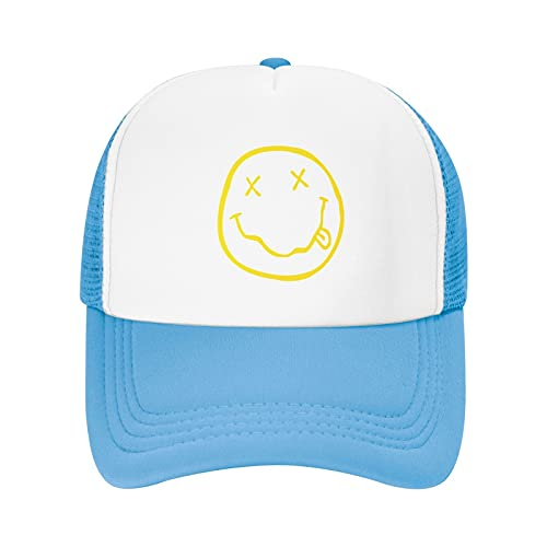 Vuegzt Smiley Face Youth Running Hats Adjustable Mesh Snapback Hats Fits Boys Girl and Teenagers Sky Blue