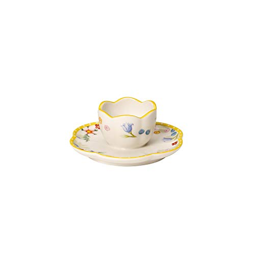 Villeroy & Boch Spring Awakening Coquetier avec Sous-tasse, porcelaine, Jaune