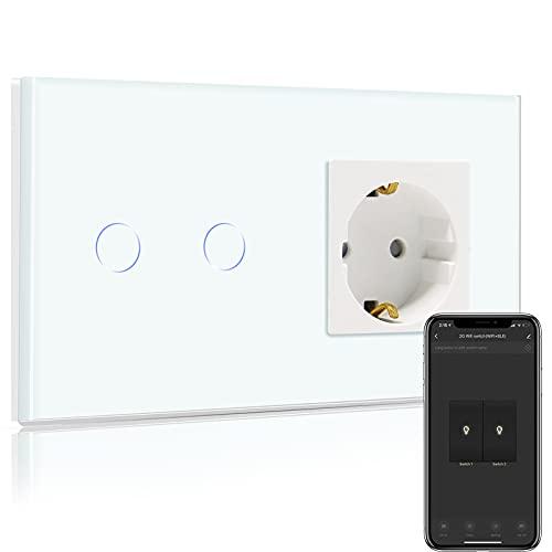 BSEED Normal enchufe con Interruptor de luz WiFi,Compatible con Alexa,Google Home,Control de APP y Función de Temporizador,2 Gang 2 Vías WiFi Interruptor de Pared con Enchufe Blanco(Neutral Requerido)