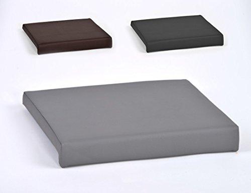 animal-design Klemmkissen für Sitzbank Sitz-Kissen 1 Leiste Kunstleder ca. B 40 cm x T 35 cm / 38 cm x H 6 cm in grau, schwarz oder braun, Farbe:grau
