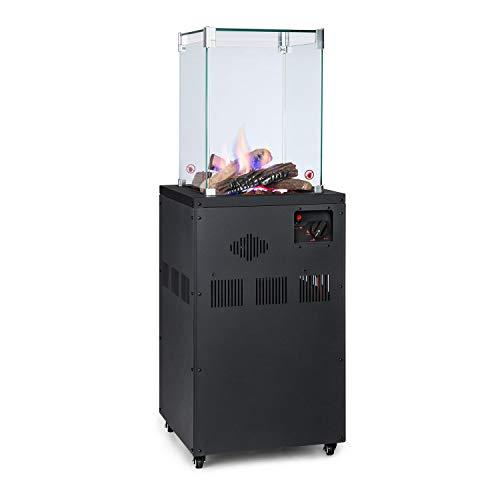 blumfeldt Flagranti Crystal View - Gasheizstrahler, Freiluftheizung, 8 kW Heizleistung, Gasflaschen bis 13 kg, 4 Fenster aus gehärtetem Glas, feststellbare Rollen, elektrisches Zündsystem, schwarz