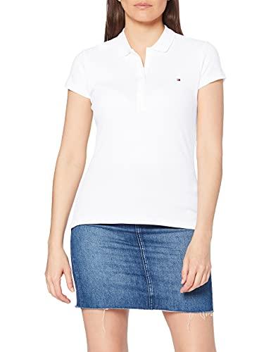 Tommy Hilfiger Damen NEW CHIARA STR PQ POLO SS Poloshirts Poloshirt, Weiß (Classic White 100), 40 (L)