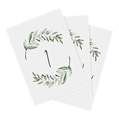 Bliss Collections Table Numbers 1-25 with Head Table Card, Double Sided 4x6 Rustic Greenery Design for Wedding, Reception, Party, Event, Celebrations - Made in the USA