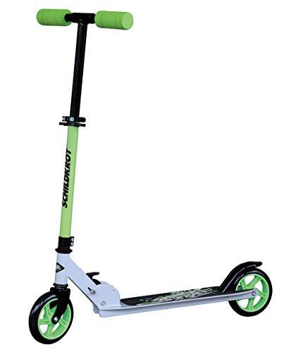 Schildkröt City Scooter RunAbout, 145mm Räder, klassischer Scooter aus Aluminium, faltbar, für Kinder ab 6 Jahren, Farbe: Lime, 510301