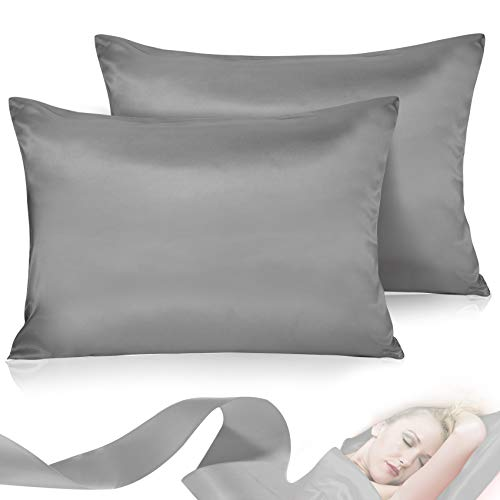 Leccod Pillow Covers Pillowcase for Hair and Skin 2 Pack Satin Pillowcase with Envelope Closure Cool Super Soft and Luxury (Deep Gray, Queen: 20x30)