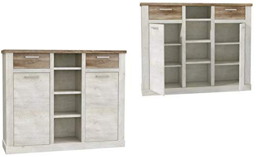 Furniture24 Kommode Duro DURK331, Wohnzimmerschrank, Highboard mit 2 Türen und 2 Schubladen
