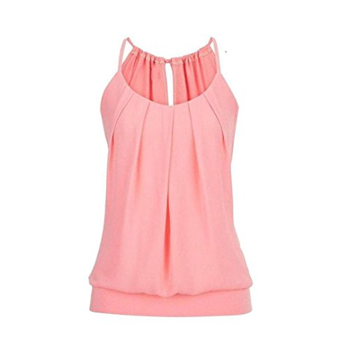 VEMOW Elegante Damen Frauen Mädchen Sommer Lose Runzeln O Neck Cami Tank Tops Weste Bluse T-Shirt Pullover T-stücke Pulli(Rosa, 38 DE/L CN)