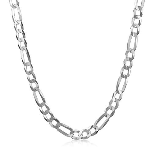 Amberta Unisex 925 Sterling Silver Flat Figaro Chain Necklace: Width 0.55 cm Length 50 cm/20 in