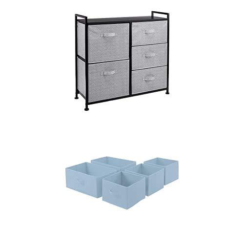 Amazon Basics Unidad de Almacenamiento, de Tela, con 5 cajones, para Armario, Negro + Cajones de Repuesto para Unidad de Almacenamiento de Tela con 5 cajones, Azul grisáceo
