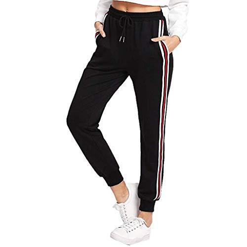Pantalón Largos de chándal para Mujer Casual Cintura Alta Impresión de Rayas Pantalones de Suelto Deportivo con cinturón Elástica señora Gusspower (Negro A, M)