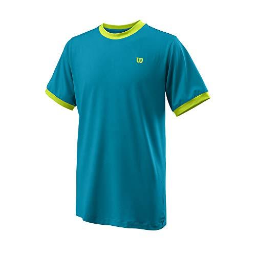Wilson Jungen Kurzarmshirt, COMPETITION CREW, Polyester/Spandex, Blau/Grün (Barrier Reef/Lime Popsicle), Größe M, WRA781803MD