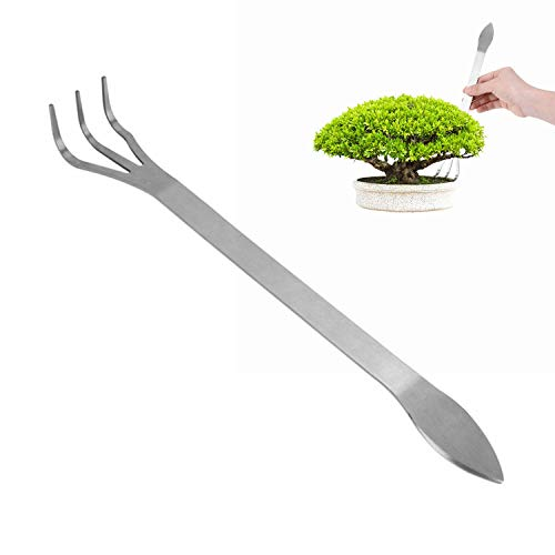 Stainless Steel Root Rake 3-Prong Loosen Soil Bonsai Tree Tools with Ergonomic Handle for Outdoor