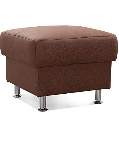 CAVADORE Sitzhocker Carlo / Moderner Mikrofaser-Polsterhocker fürs Wohnzimmer / 58 x 47 x 58 / Lederoptik Braun