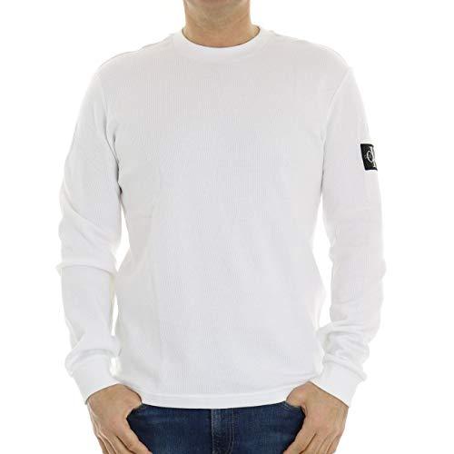 Calvin Klein Jeans Waffle LS Tee T-Shirt, Bianco Brillante, XXL Uomo