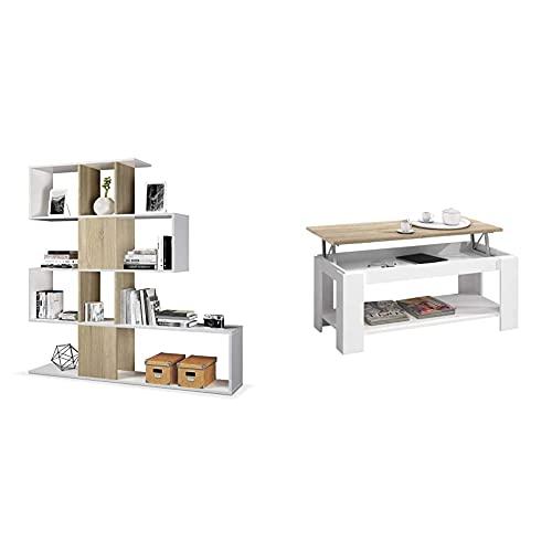 Habitdesign Estantería Librería, Salón, Comedor o Despacho + Mesa Centro con revistero, Mesa elevable, mesita Mueble Salon Comedor